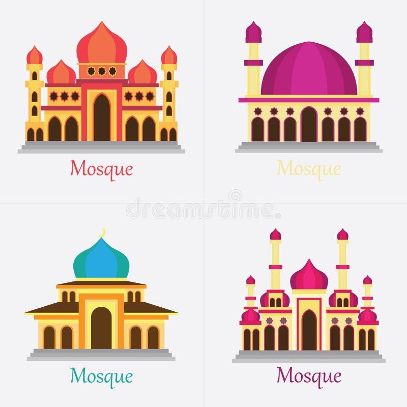 uppsättningen av den islamiska moskén/Masjid för muselman ber symbolen royaltyfria bilder