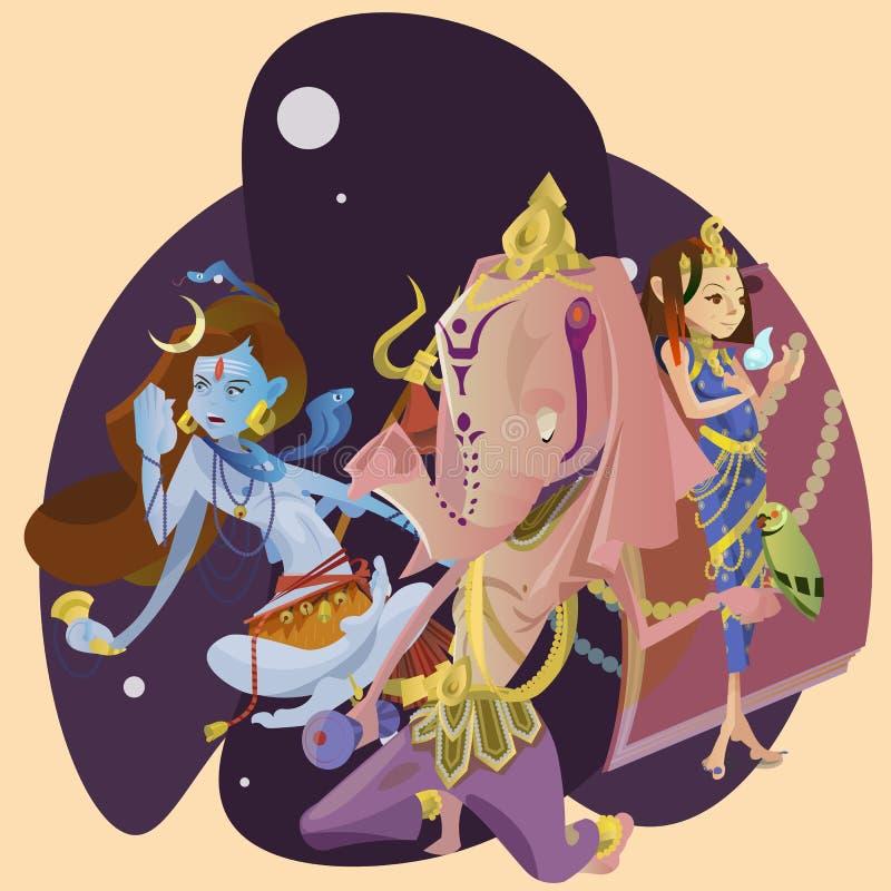 Uppsättningen av den isolerade hinduiska gudmeditationen i yoga poserar lotusblomma- och gudinnahinduismreligionen, traditionell  royaltyfri illustrationer