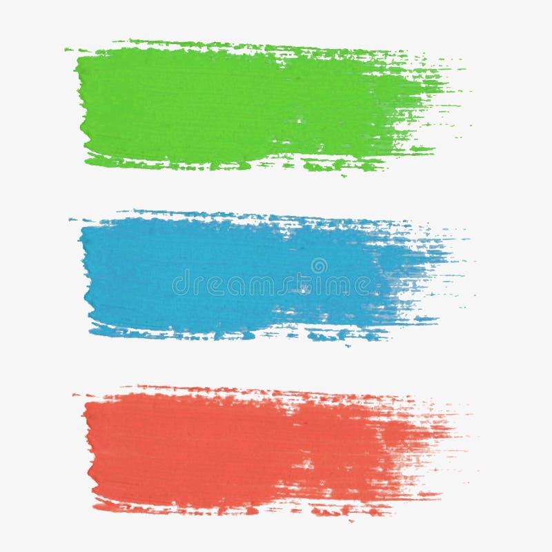 Uppsättningen av den kulöra vektorn målarfärg-plaskar Färgpaletten stock illustrationer