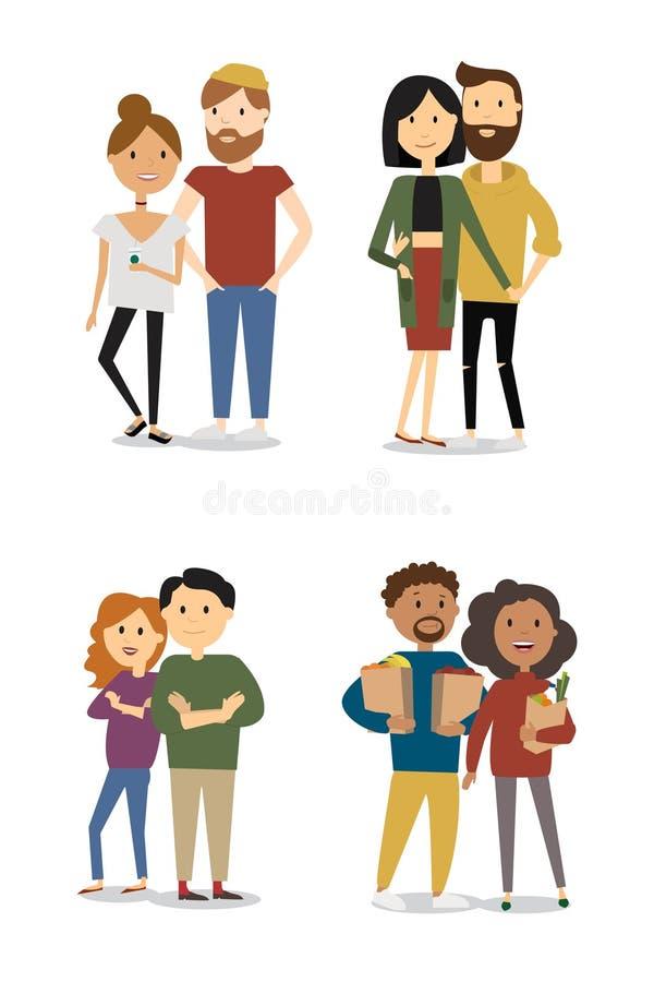 Uppsättningen av den lyckliga tecknade filmen kopplar ihop förälskat vänner på datum, på matställen som kramar Symboler för samli royaltyfri illustrationer