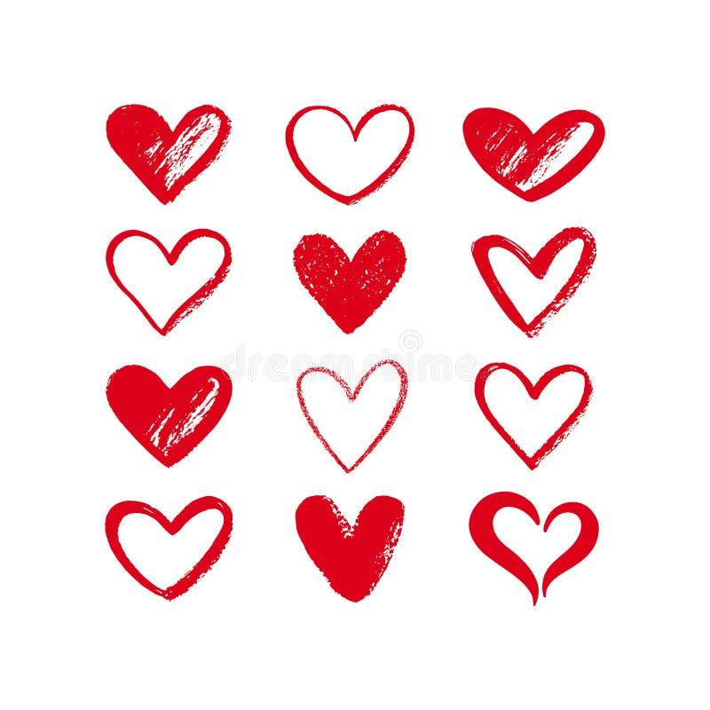 Uppsättningen av den olika borsten, krita dragen texturerad hjärta formar royaltyfri illustrationer