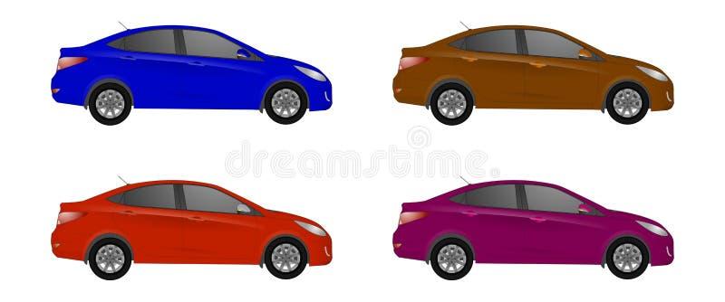 Uppsättningen av den olika färgbilen, den realistiska bilen modellerar stock illustrationer