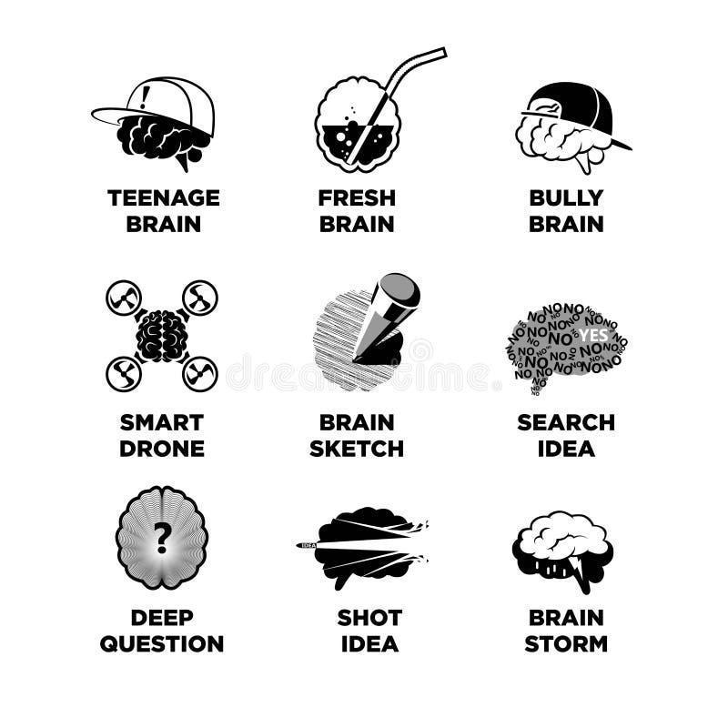 Uppsättningen av den olika hjärnan skissar stock illustrationer