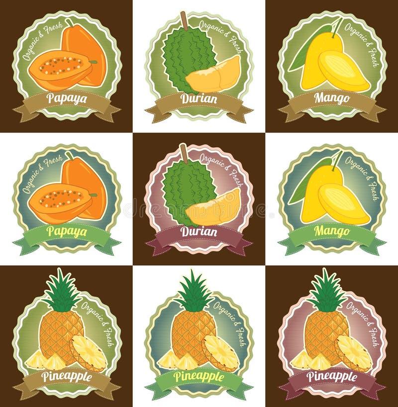 Uppsättningen av den olika nya för etikettsetiketten för tropiska frukter högvärdiga kvalitets- klistermärken för emblemet och lo royaltyfri illustrationer