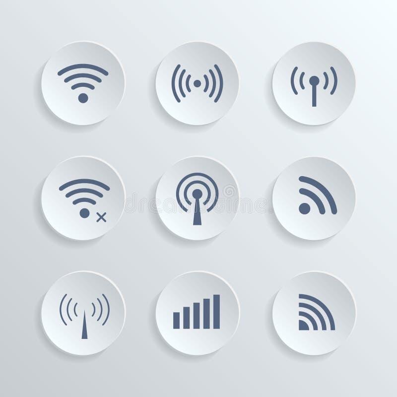Uppsättningen av den olika radion 3d knäppas och wifisymboler stock illustrationer