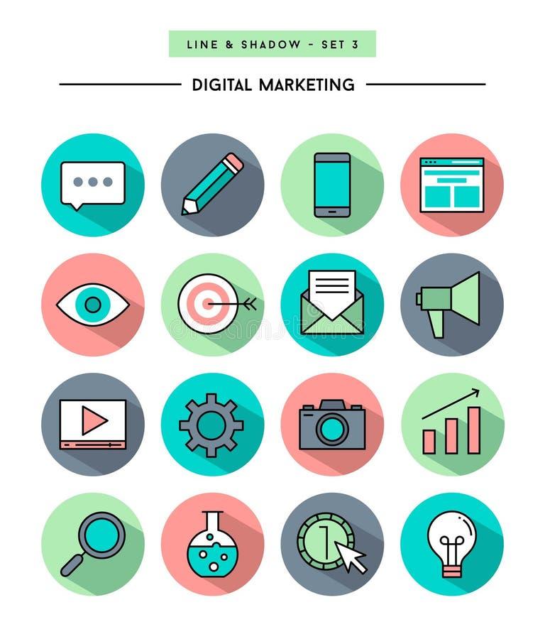 Uppsättningen av den plana designen, lång skugga, gör linjen digital marknadsföringssymbol tunnare vektor illustrationer
