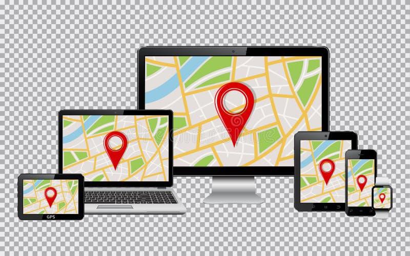 Uppsättningen av den realistiska datorbildskärmen, bärbara datorn, minnestavlan, mobiltelefon, ilar den klocka- och GPS navigerin vektor illustrationer