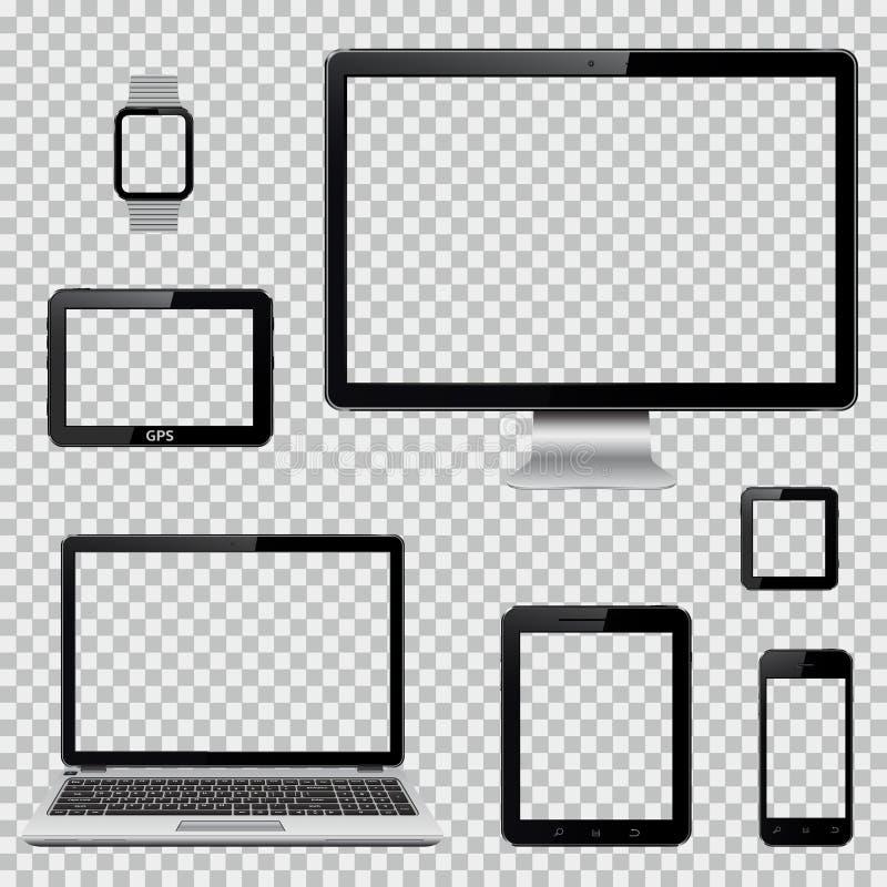 Uppsättningen av den realistiska datorbildskärmen, bärbara datorn, minnestavlan, mobiltelefon, ilar den klocka- och GPS navigerin stock illustrationer