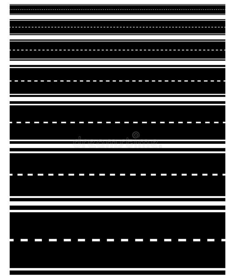Uppsättningen av den repeatable vägen formar med streckade linjer vektor illustrationer