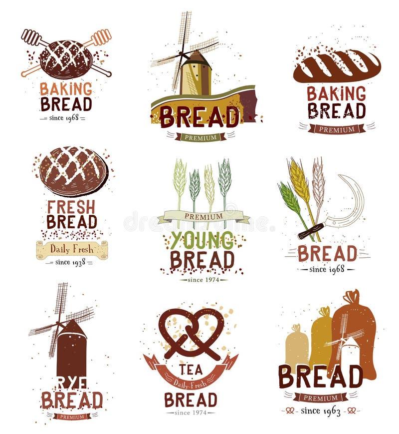 Uppsättningen av den retro bageri- och brödlogoen, märker, emblem och designbeståndsdelar royaltyfri illustrationer