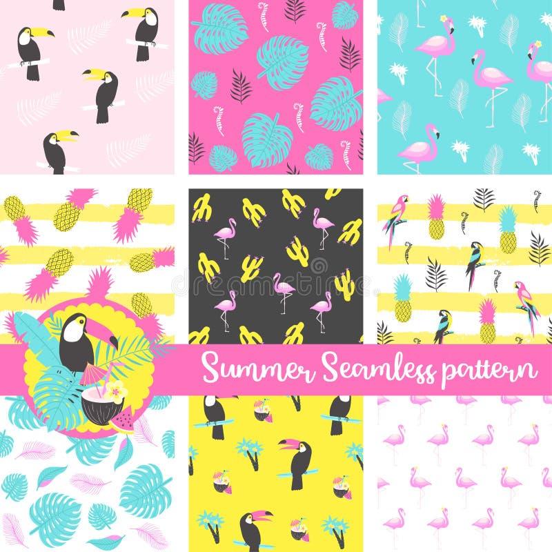 Uppsättningen av den sömlösa modellen för sommar med flamingo, tukan, papegojan, ananas, gömma i handflatan och exotiska sidor vektor illustrationer