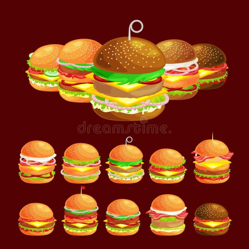 Uppsättningen av den smakliga hamburgaren grillat nötkött och nya grönsaker som kläs med sås i bullen för mellanmålet eller lunch royaltyfri illustrationer