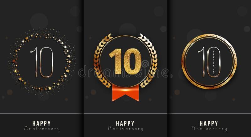 Uppsättningen av den 10th lyckliga årsdagen cards mallen royaltyfri illustrationer