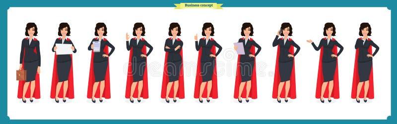 Uppsättningen av den toppna affärskvinnateckendesignen med olikt poserar Illustration isolerad vektor på vit i plan tecknad films vektor illustrationer
