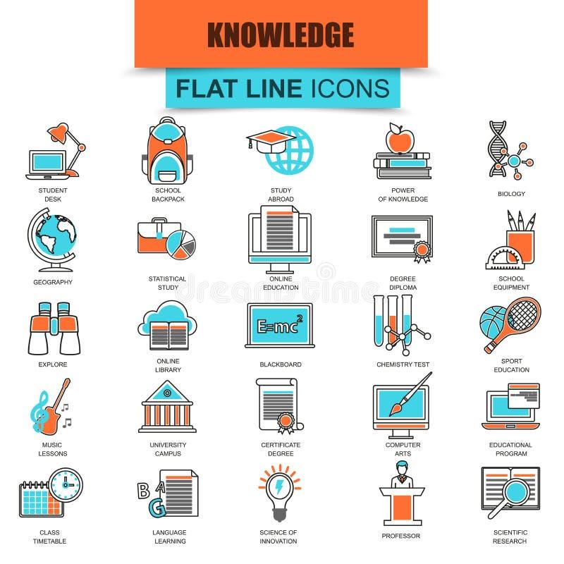 Uppsättningen av den tunna linjen symboler distanserar skolutbildningutbildning vektor illustrationer