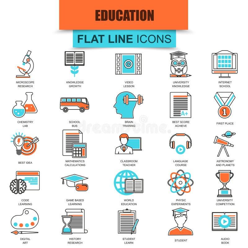 Uppsättningen av den tunna linjen symbolsinternetutbildning och online-kurs studerar stock illustrationer
