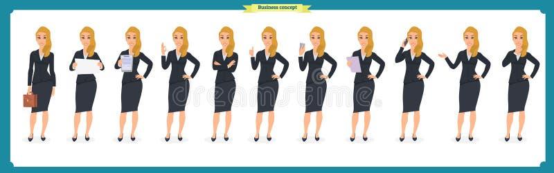 Uppsättningen av den unga affärskvinnan som framlägger i olikt, poserar Folktecken plattform Isolerat på vit Plan stil Affär vektor illustrationer