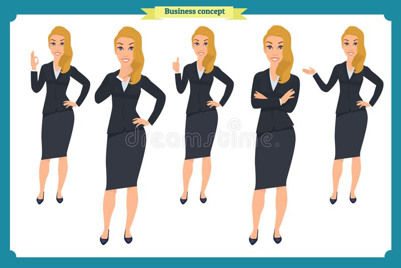 Uppsättningen av den unga affärskvinnan som framlägger i olikt, poserar Folktecken plattform Isolerat på vit Plan stil Affär stock illustrationer