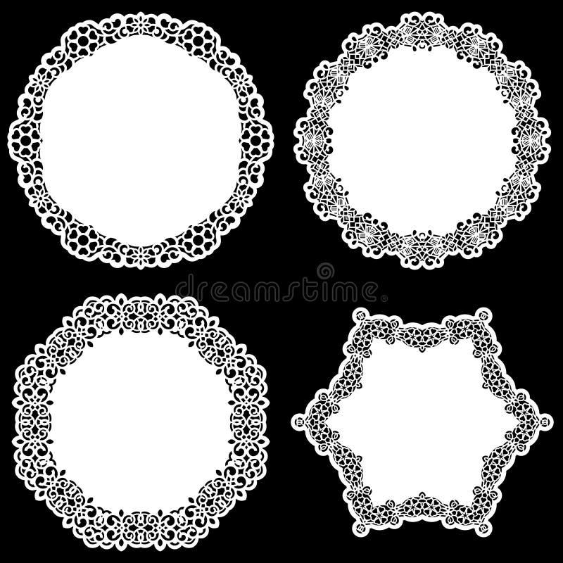 Uppsättningen av designbeståndsdelar, snör åt den pappers- doilyen för rundan, doily för att dekorera kakan stock illustrationer