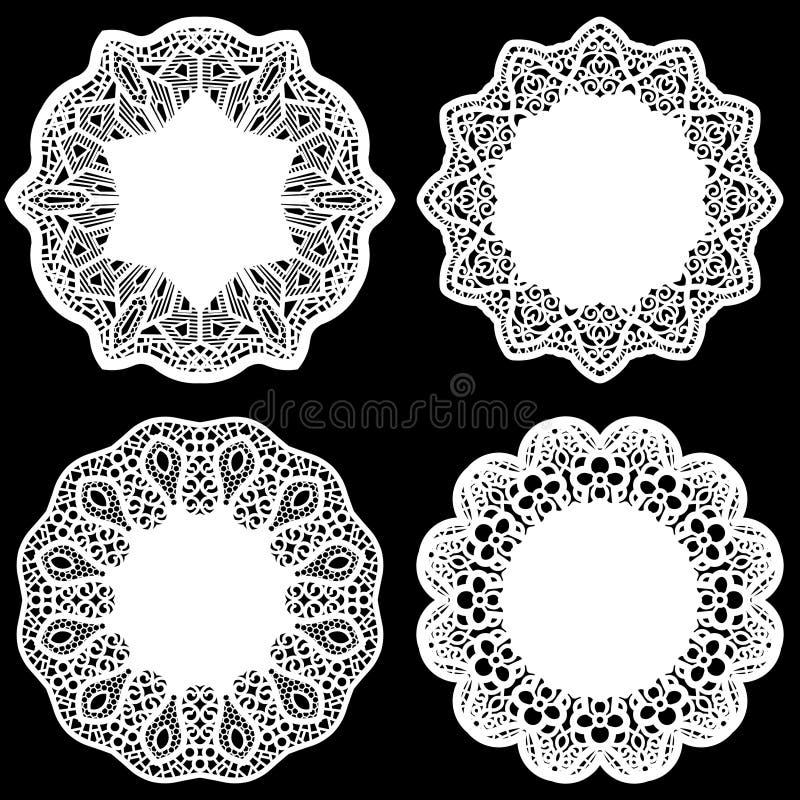 Uppsättningen av designbeståndsdelar, snör åt den pappers- doilyen för rundan, doily för att dekorera kakan, den festliga doilyen vektor illustrationer