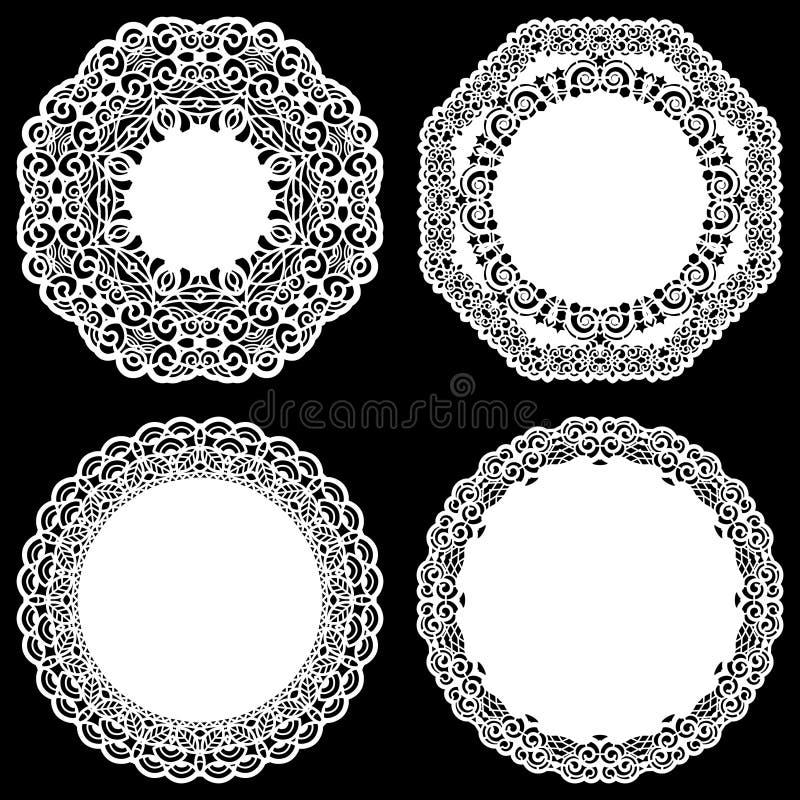 Uppsättningen av designbeståndsdelar, snör åt den pappers- doilyen för rundan, doily för att dekorera kakan, mallen för att klipp stock illustrationer