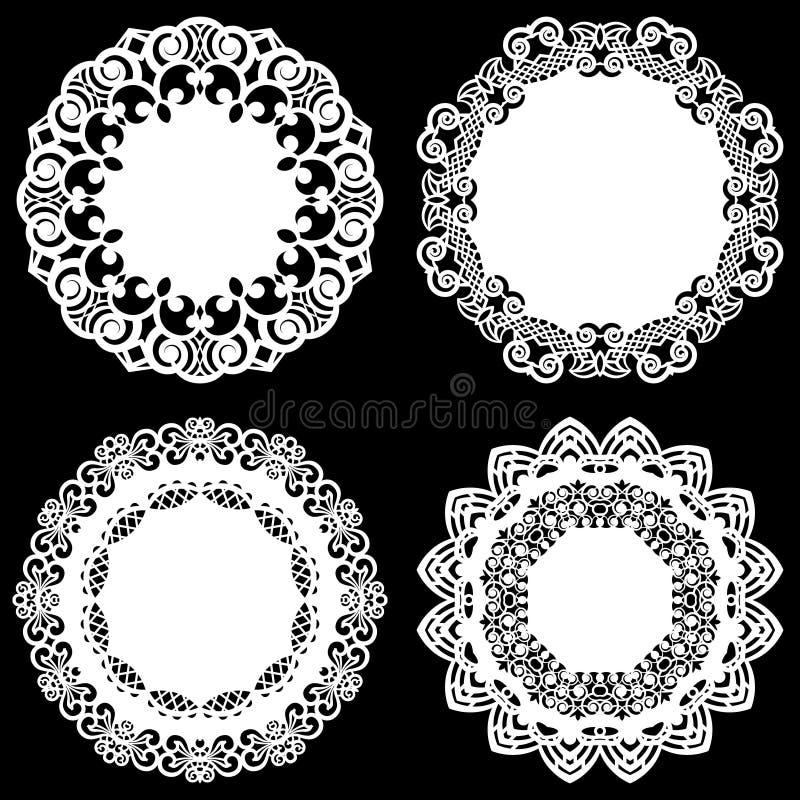 Uppsättningen av designbeståndsdelar, snör åt den pappers- doilyen för rundan, doily för att dekorera kakan, mallen för att klipp vektor illustrationer