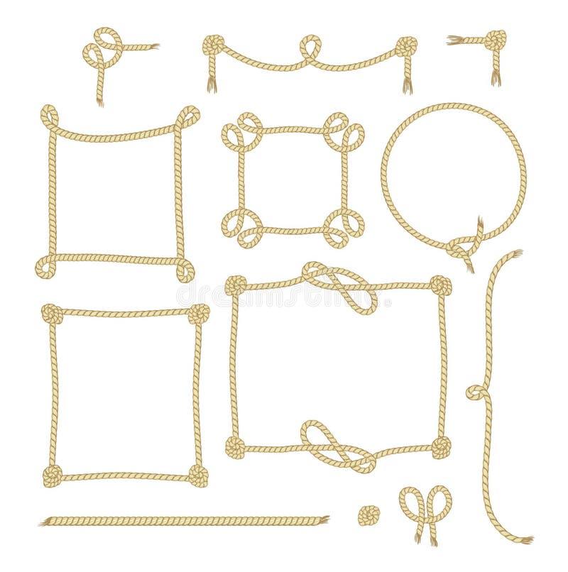 Uppsättningen av det enkla repet inramar grafiska designer stock illustrationer