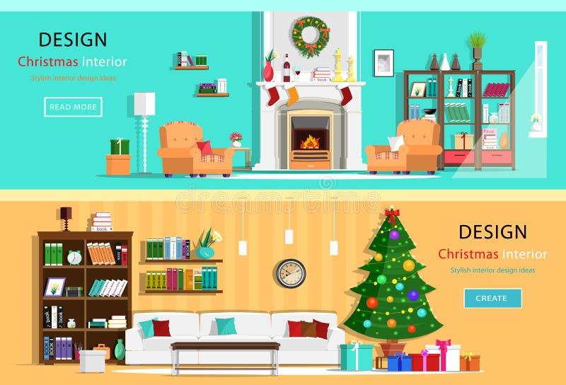 Uppsättningen av det färgrika huset för julinredesignen hyr rum med möblemangsymboler Jul krans, julgran, spis Plan styl royaltyfri illustrationer