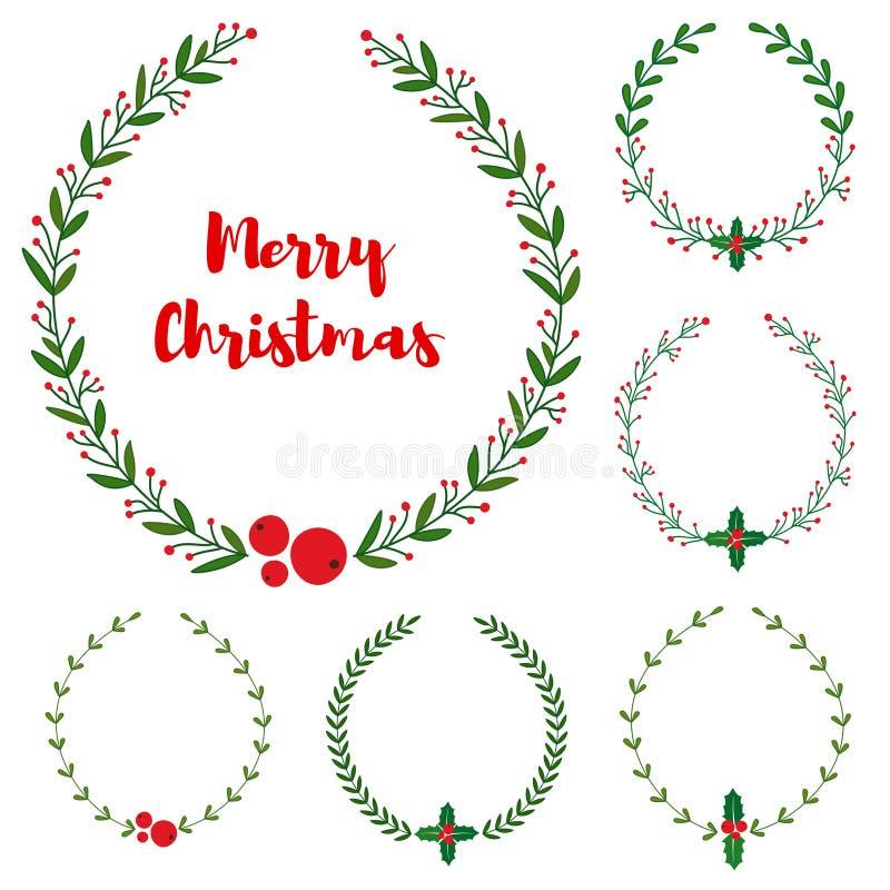 Uppsättningen av det nya året, jul klottrar handen drog blom- kransramar vektor illustrationer