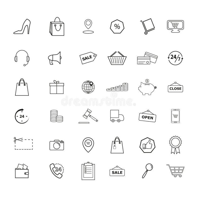 Uppsättningen av detaljhandel shoppar marknadshandelsymboler vektor illustrationer