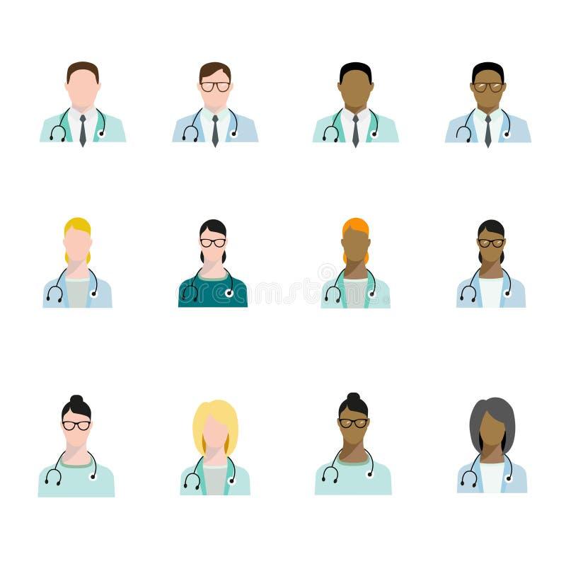 Uppsättningen av doktorsavatarsyrket, grundläggande tecken ställde in i plan stil Doktorer av olika lopp stock illustrationer