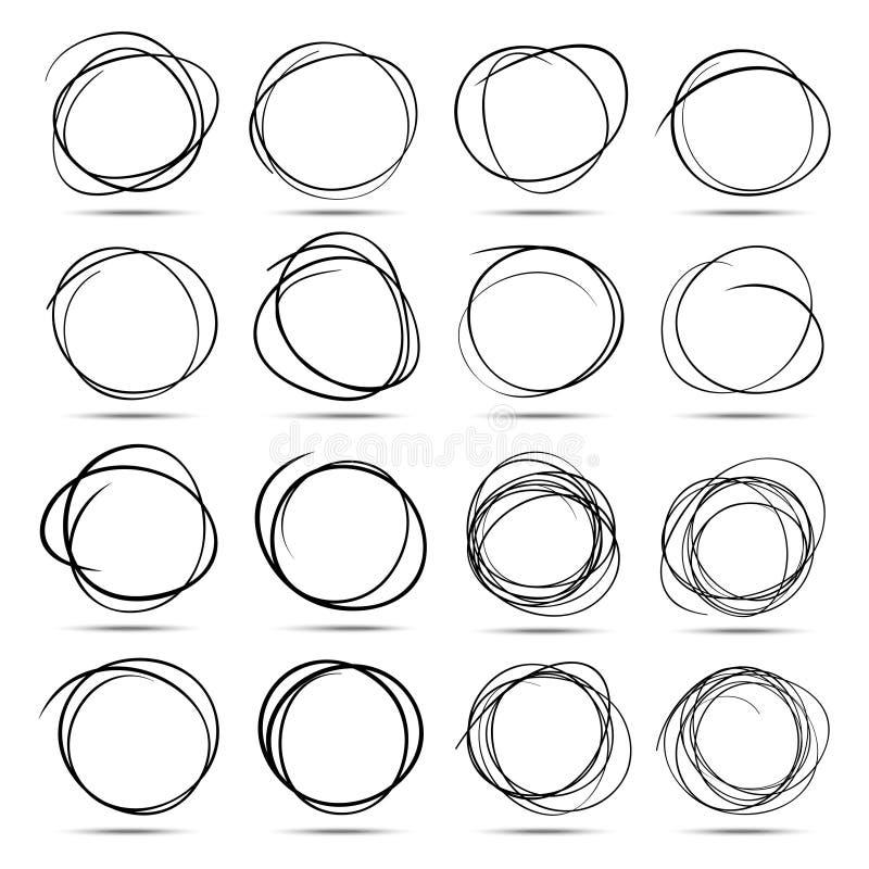 Uppsättningen av dragen hand 16 klottrar cirklar royaltyfri illustrationer