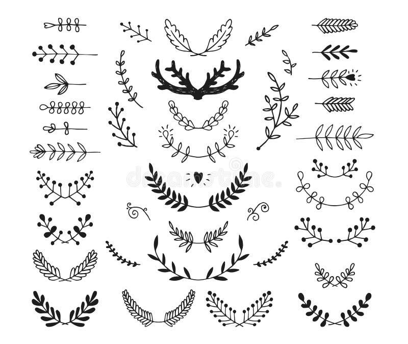 Uppsättningen av drog lager för vektor handen, krans, förgrena sig royaltyfri illustrationer