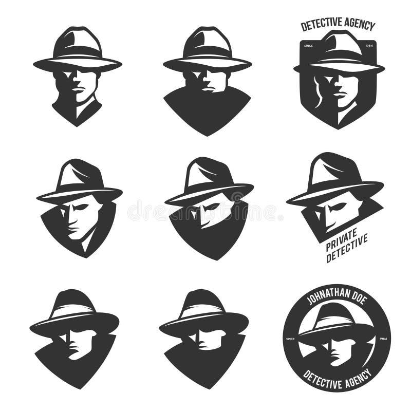 Uppsättningen av emblem för detektiv- byrå med abstrakta män heads i hattar Tappningvektorillustration vektor illustrationer