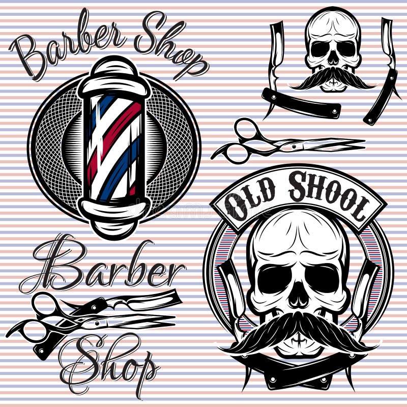 Uppsättningen av emblem på en temabarberare shoppar vektor illustrationer