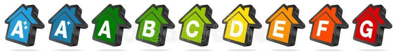 Uppsättningen av energihussymboler svärtar och färgar stock illustrationer