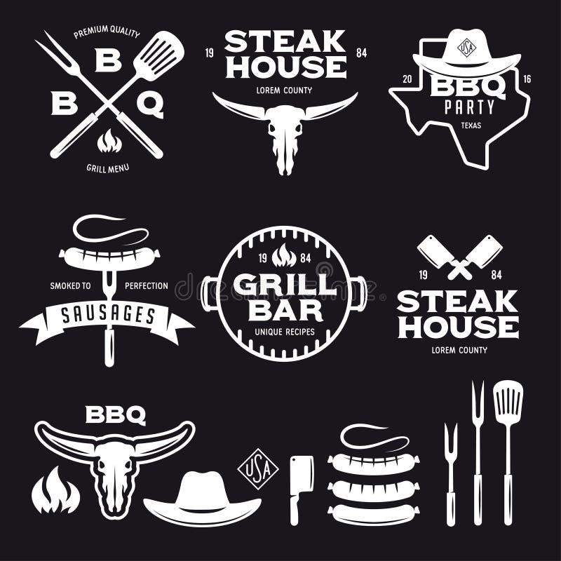 Uppsättningen av etiketter för stång för grillfeststekhusgaller förser med märke emblem och designbeståndsdelar Vektortappningill royaltyfri illustrationer