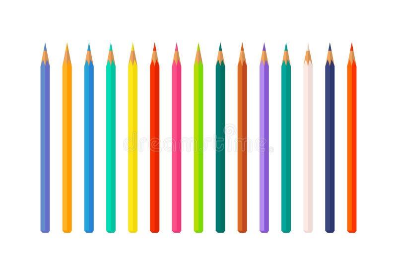 Uppsättningen av färg ritar den isolerade vektorillustrationen stock illustrationer