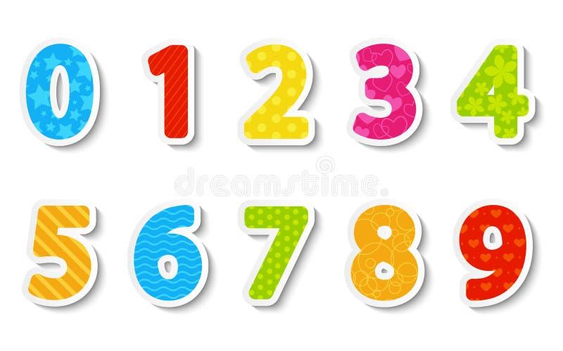 Uppsättningen av färgar pappers- numrerar royaltyfri illustrationer