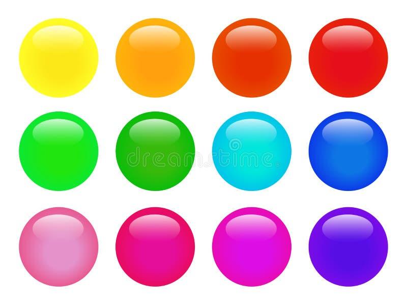 Uppsättningen av färgrik isolerad glansig vektorrengöringsduk knäppas Härliga internetknappar på vit bakgrund vektor illustrationer