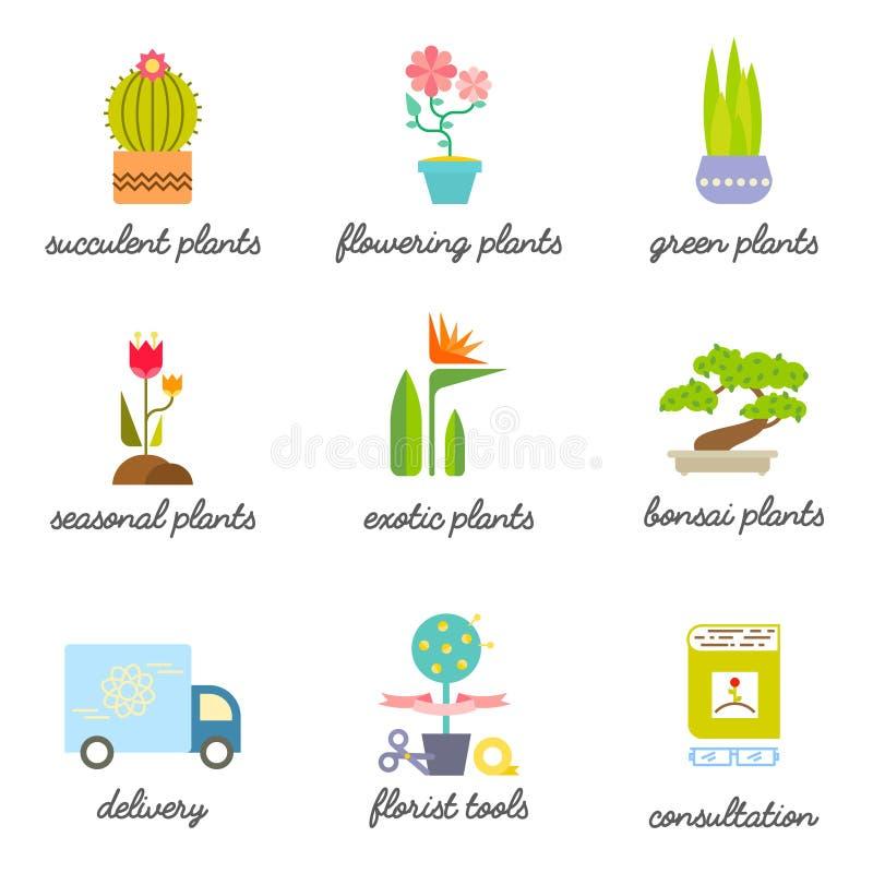 Uppsättningen av färgrika plana symboler för blomma eller blomsterhandlaren shoppar stock illustrationer