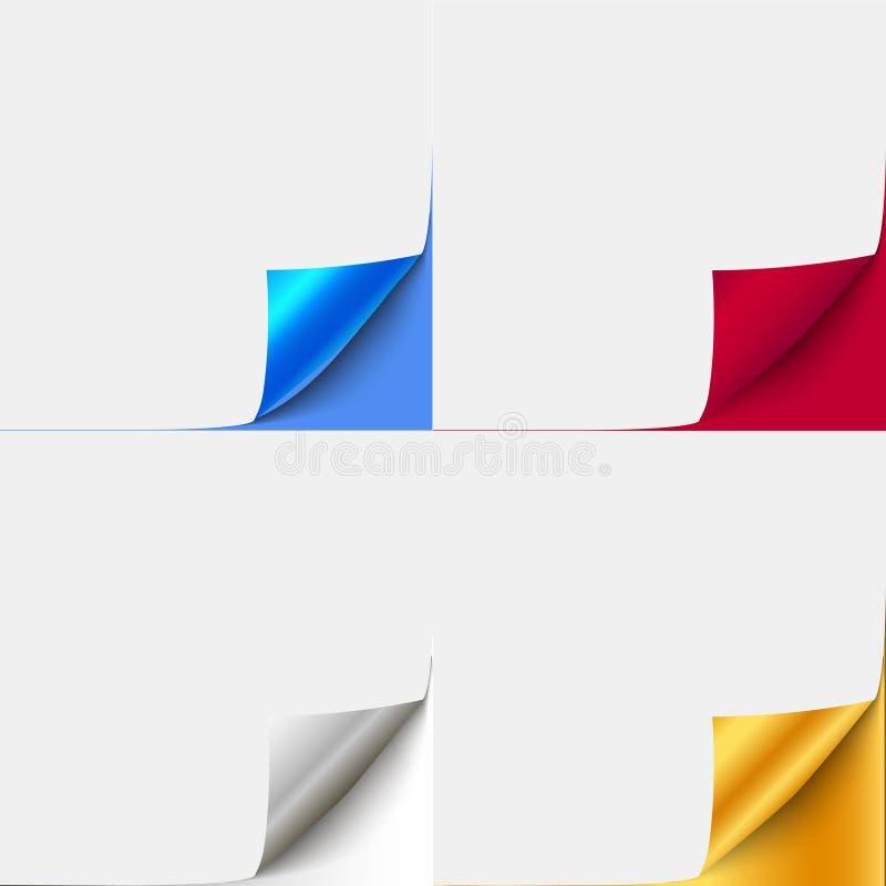 Uppsättningen av färgrikt krullat papper tränga någon för annonserings- och försäljningspromo papper med krullningshörnet för bok royaltyfri illustrationer