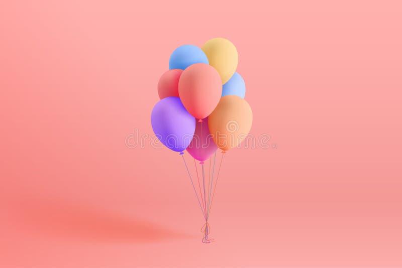 Uppsättningen av färgrikt realistiskt mattt helium sväller att sväva på rosa bakgrund stock illustrationer