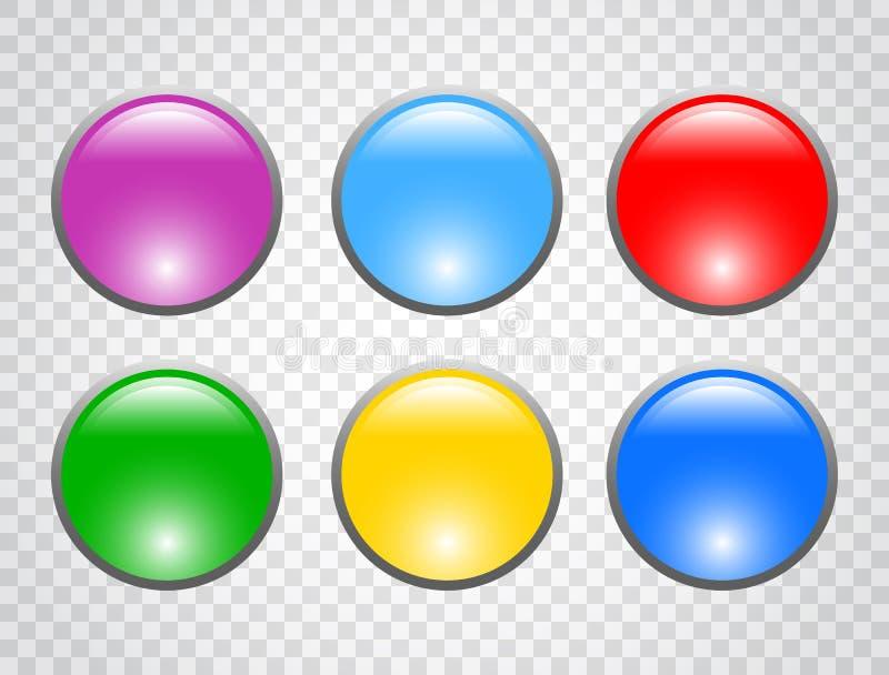 Uppsättningen av färgrundan knäppas på genomskinlig bakgrund 3d buttons rengöringsduk också vektor för coreldrawillustration stock illustrationer