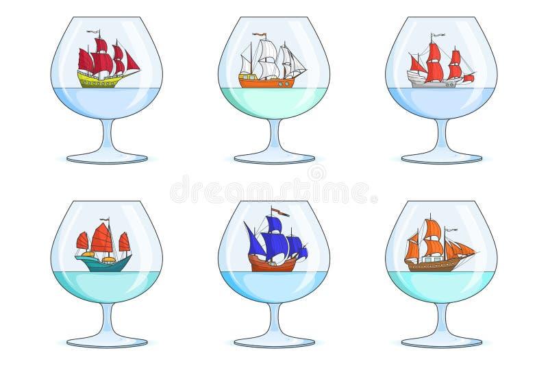 Uppsättningen av färgskepp med seglar i exponeringsglas Souvenir med segelbåten som isoleras på vit bakgrund för turen, turism, l royaltyfri illustrationer