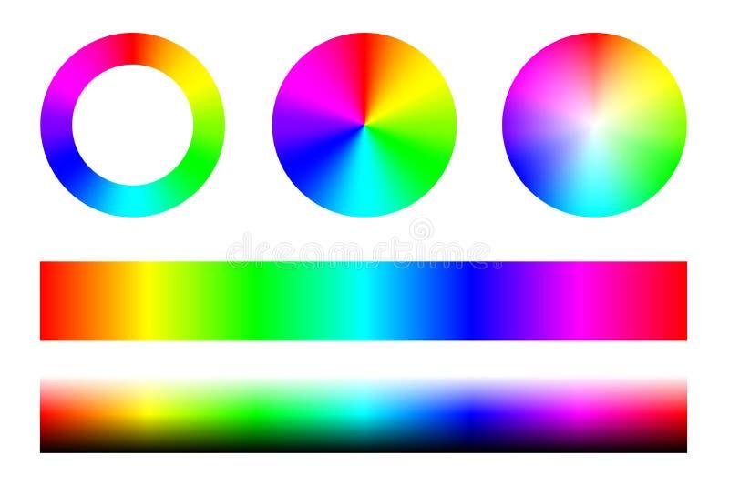 Uppsättningen av färgspektra RGB, hjul cirklar och band vektor vektor illustrationer