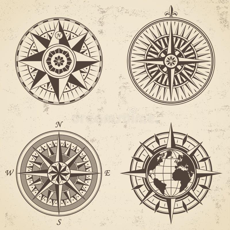 Uppsättningen av för den antika den nautiska kompasset vindrosen för tappning undertecknar etiketter vektor illustrationer