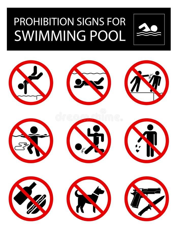 Uppsättningen av förbud undertecknar och härskar för simbassäng royaltyfri illustrationer