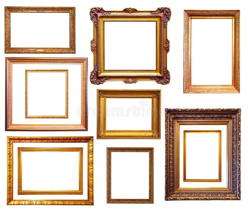 Uppsättningen av förgyllt inramar Isolerat över vitbakgrund royaltyfria bilder