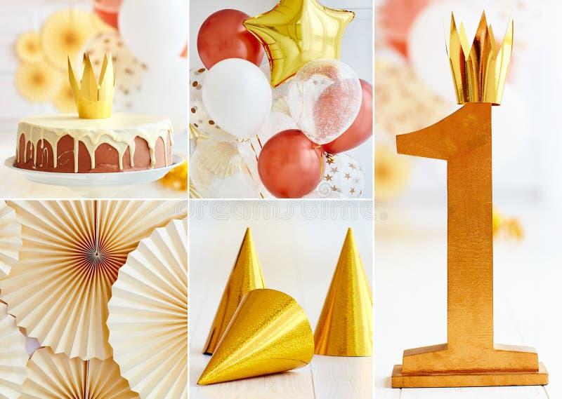 Uppsättningen av först behandla som ett barn garneringar för födelsedagparti i guld- signaler, med ballonger och kakan arkivbild